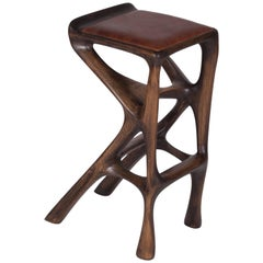 Modern Barstool Solid Wood with Leather and Stained Rusted Walnut