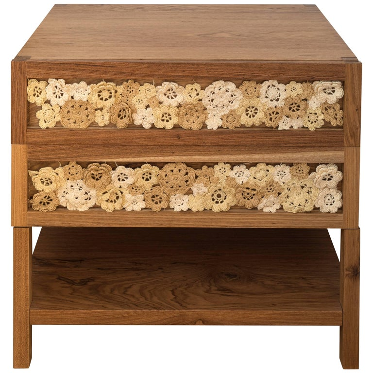 """Jardim"" Nightstand in Hardwood with Crochet For Sale"