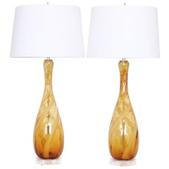 Seguso Murano Glass Lamps in Amber and White