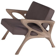 Modern Armchair, Ash Wood, Dark Grey Fabric, Weather Gray Stained