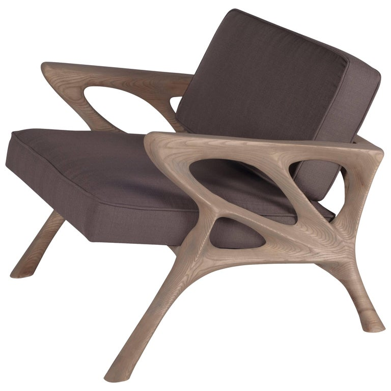 Amorph Hermes Armchair, Weather Gray Stained For Sale