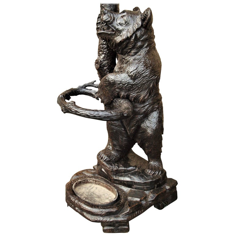 19th Century Carved Bear Black Forest Hall Stand