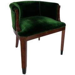 The Art-Deco Thuja Green Velvet  Armchair,  1930