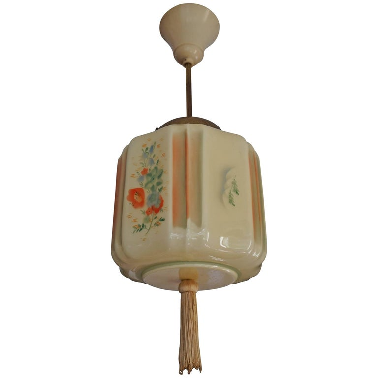 Art Deco Asian Style Glass Pendant with Tassel and Hand-Painted Flower Decor
