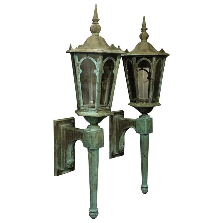 English 19th Century Pair of Large Bronze External Antique Wall Lanterns