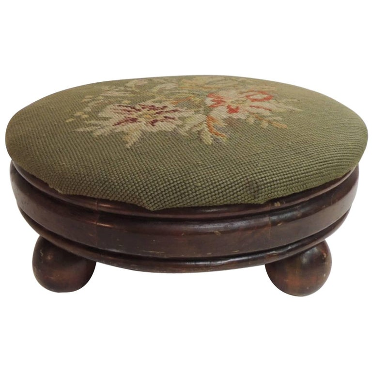 Antique Round Tapestry Upholstered Footstool For