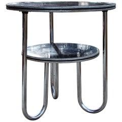 Art Deco Machine Age Two-Tiered Chrome Table, Wolfgang Hoffmann for Royal Chrome