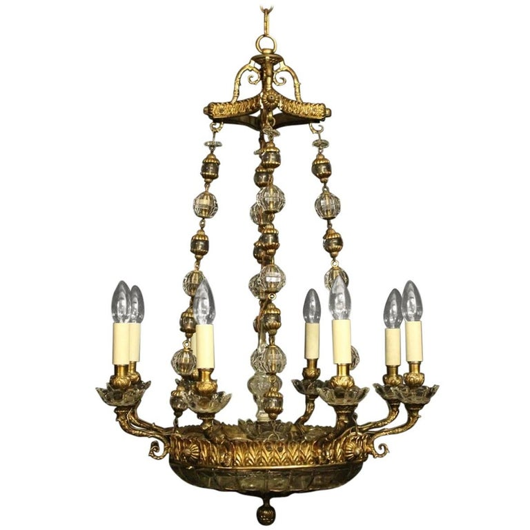 French 19th Century Gilded Bronze Ten-Light Chandelier