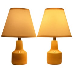 Pair of Small Soft Yellow Lotte and Gunnar Bostlund Ceramic Bedside Lamps