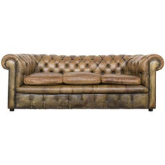 Vintage 1950s-1960s Chesterfield Sofa in Hand Dyed Tan Olive Green Leather