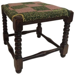 CLOSE OUT SALE: Antique Square William and Mary Style Turned Wood Legs Stool