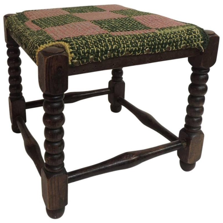 Antique Square William and Mary Style Turned Wood Legs Stool