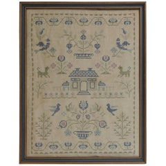 Framed Vintage Embroidery Sampler