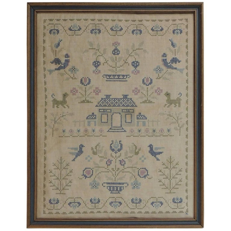 Framed Vintage Embroidery Sampler For Sale At 1stdibs