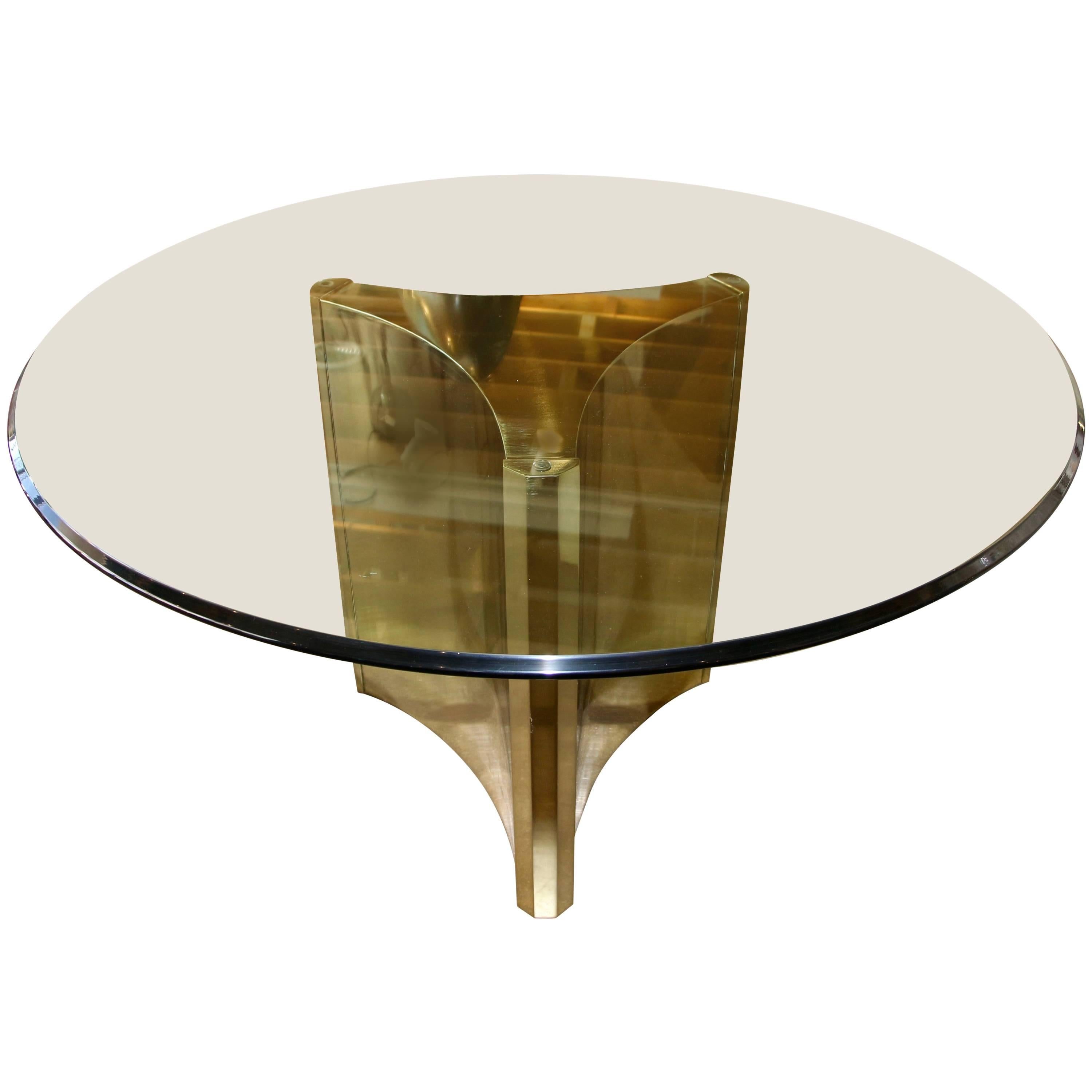 Mastercraft Brass Pedestal Dining Table With Bevelled Glass Top At