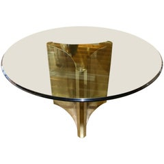 Mastercraft Brass Pedestal Dining Table with Bevelled Glass Top