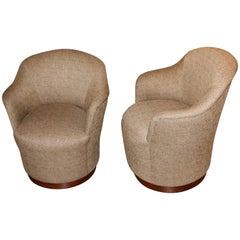 J. Robert Scott Swivel Chairs in Original Upholstery