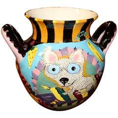 Whimsical David Gurney Glazed Vessel with a Cat