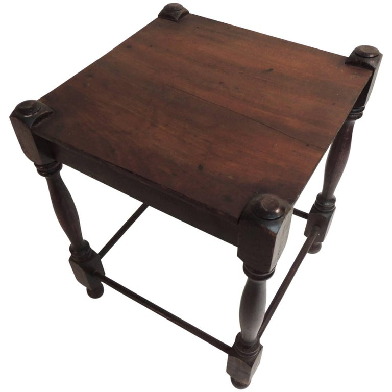 Antique Square Milking Stool with Turned Wood Legs