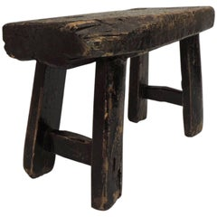 Primitive Wood Asian Artisanal Low Stool