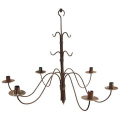 Late 18th Century Forged Iron Chandelier