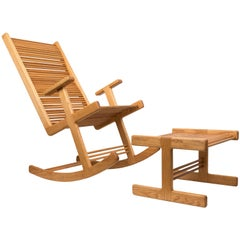 Stephen Hynson Oak Dowel Rocking Chair and Ottoman