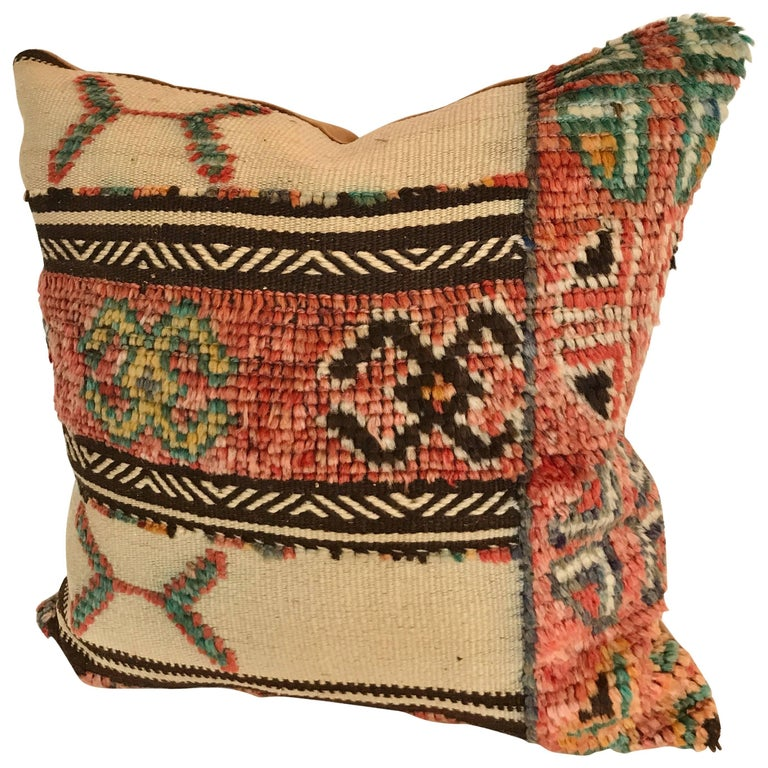 Custom Pillow Cut From A Vintage Moroccan Hand Loomed Wool