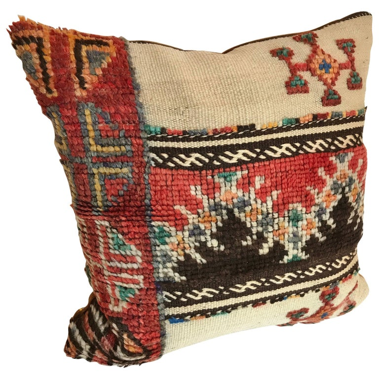 Custom Pillow cut from a Vintage Moroccan Hand Loomed Wool Berber Rug