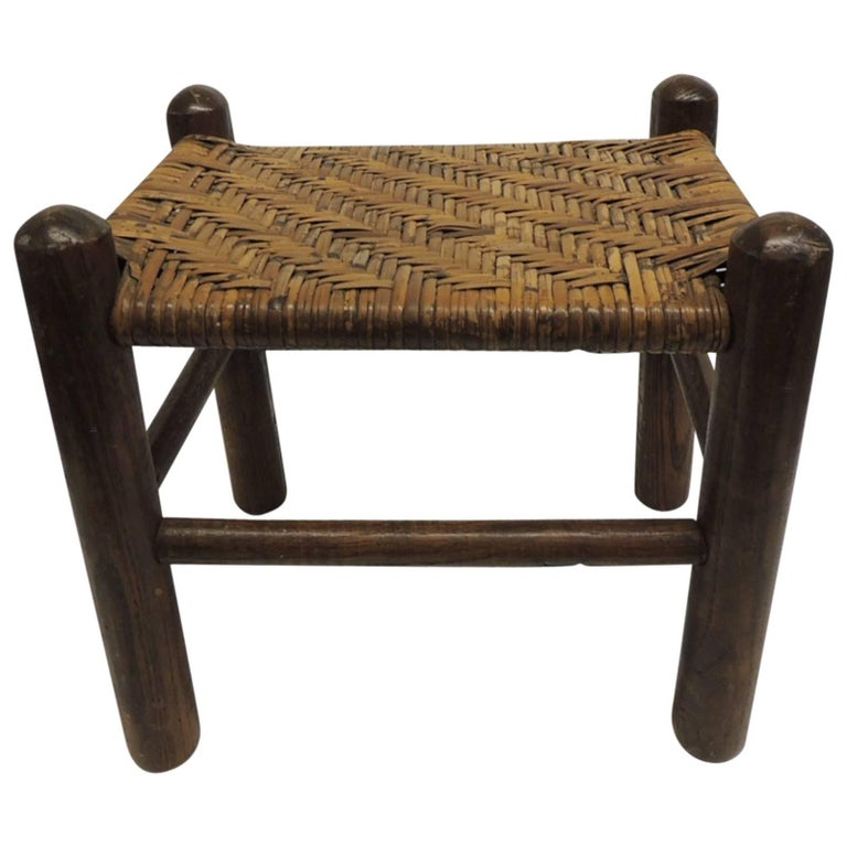 Vintage Country Wood and Rattan Woven Seat with Four Legs Adirondack Style