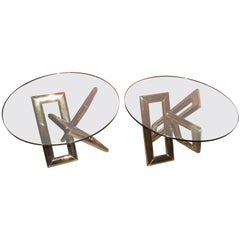 Interesting Pair 1970s Brass Geometric Modern Side Table Mid-Century Modern