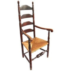 18th Century Coastal Connecticut Ladderback Chair in Original Red Paint