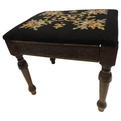 Vintage Gothic Style Footstool Reupholstered with Floral Tapestry Louis XVI Styl