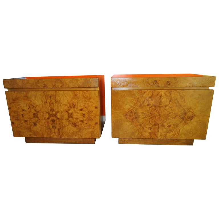 Gorgeous Pair of Burl Olive Wood Midcentury Nightstands by Roland Carter, Lane