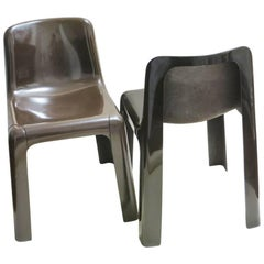Pair of French Fiberglass Chairs Ozoo by Marc Berthier