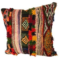 Custom Moroccan Pillow cut from a Vintage Hand Loomed Boucherouite Rug