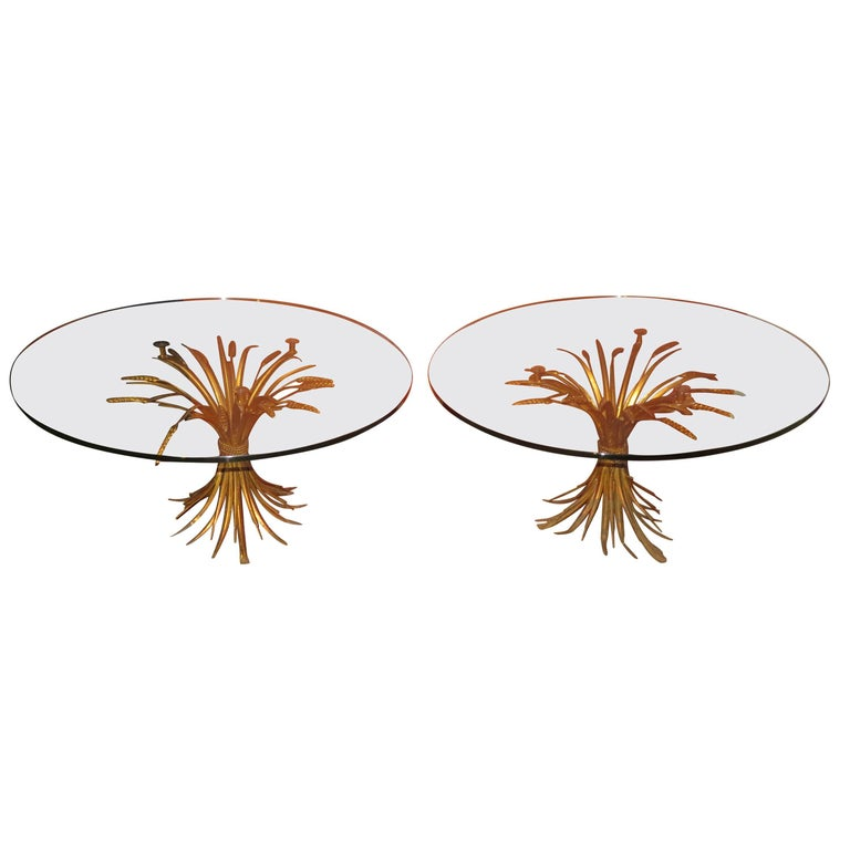 Fabulous Pair of Coco Chanel Style Gilded Wheat Side End Tables