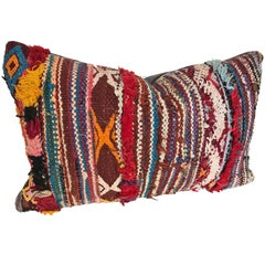 Custom Moroccan Pillow Cut from a Vintage Hand-Loomed Boucherouite Rug