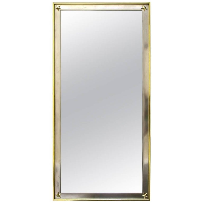 French Rectangle Directoire Brass Steel Wall Mirror