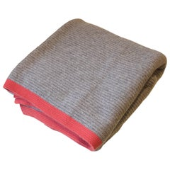 Solid Platinum Ribbed Knit Yak Down Throw with Rust Orange Cashmere Border