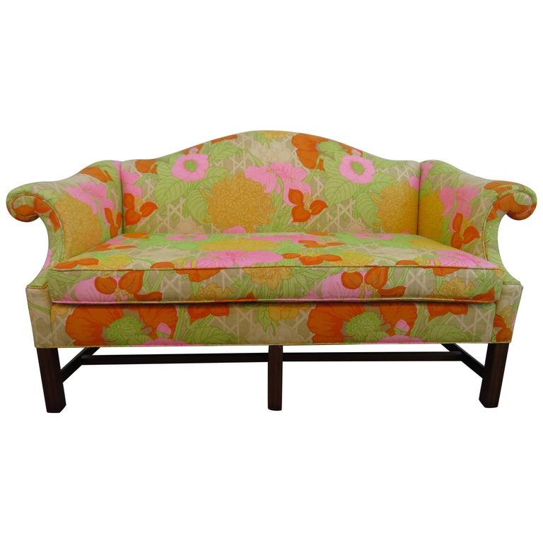 Wonderful Flowered Linen Chippendale Style Camelback Loveseat Sofa, Midcentury For Sale