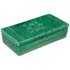 Bitossi Raymor Ceramic Lidded Box Emerald Green Signed, Italy, 1960s