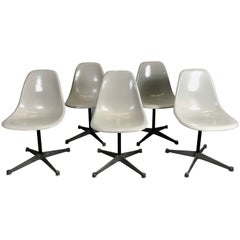 Six Classic Fiberglass Swivel Side Shell Chairs Charles Eames, Herman Miller