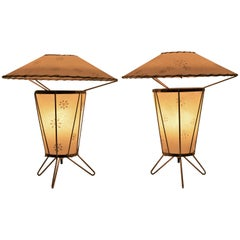 Pair 1950s Atomic Era Fiberglass and Brass Tripod Table Lamps