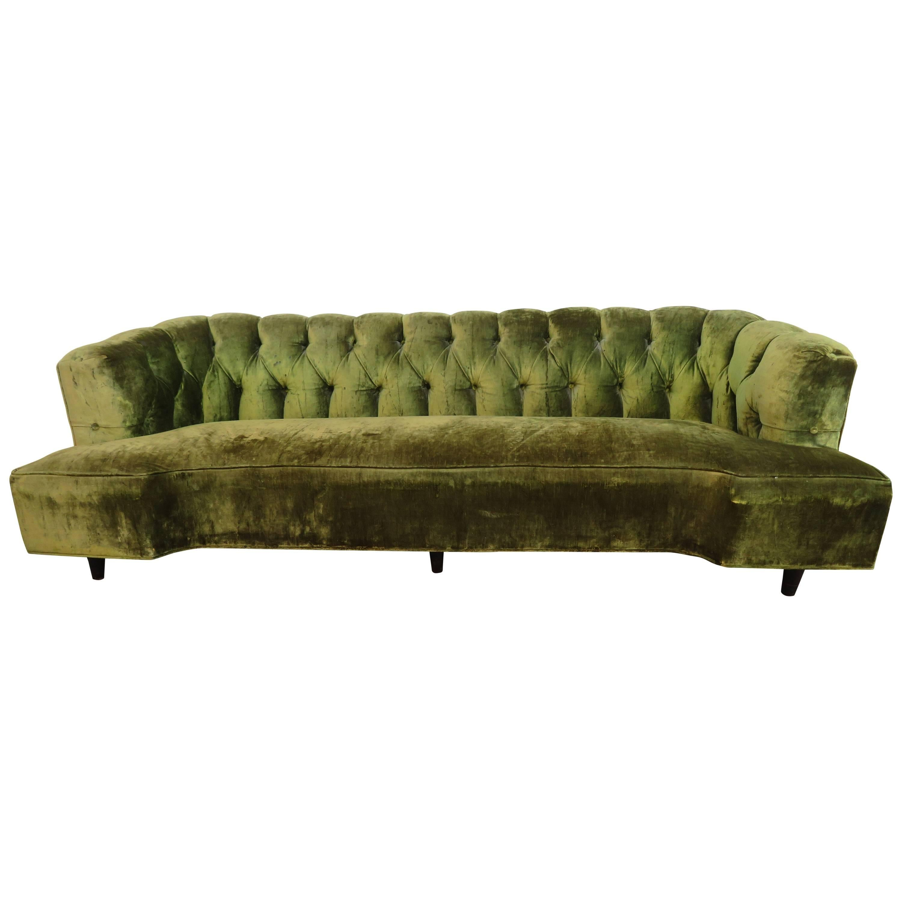 Superbe Gorgeous Dunbar Style Tufted Curved Sofa Mid Century Modern For Sale