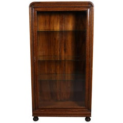 Antique Oak Single Glass Door Closed Display Cabinet, Ball Feet, 20th Century