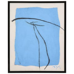 Adja Yunkers Oil Canvas Board Pueblo XXIV Abstract Blue Black Signed USA, 1970s