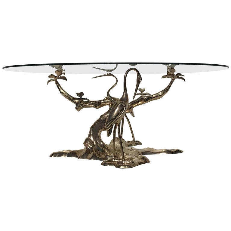 Brass Bonsai Tree Coffee Table Style of Willy Daro