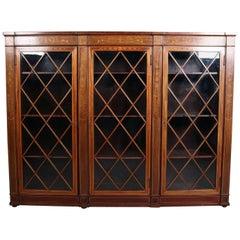 Satinwood Foliate Inlaid Mahogany Three-Door Closed Bookcase, Early 20th Century
