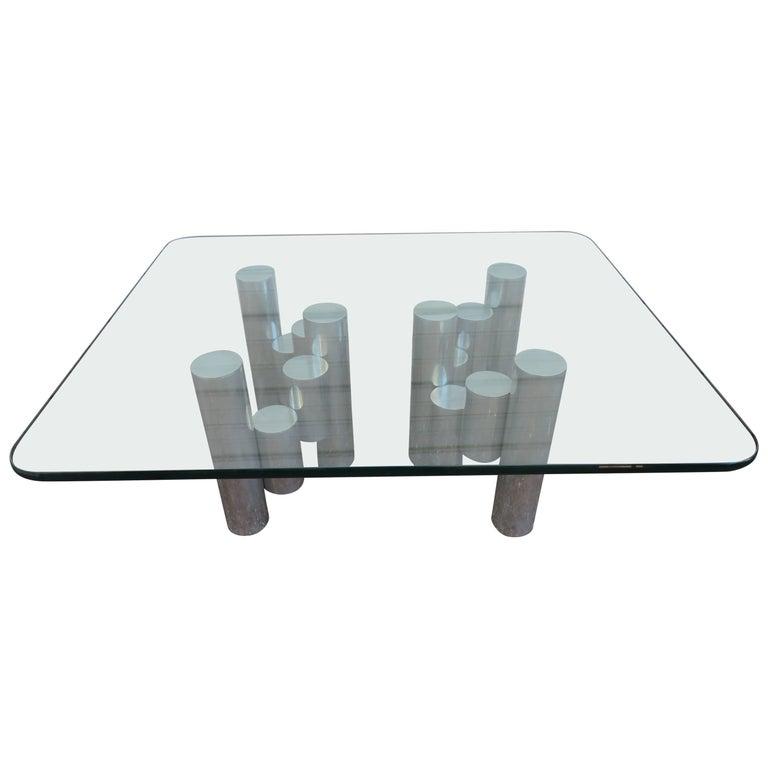 Stunning Paul Mayen Habitat Aluminum Cylinder Coffee Table, Mid-Century Modern