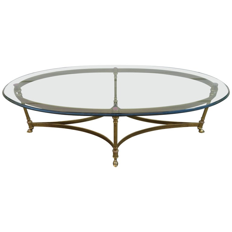 Stunning Brass and Glass Midcentury Labarge Hoof Cocktail Table Regency Modern